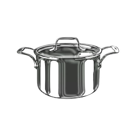 a nice stainless cooking pot and lid Stock Illustratie