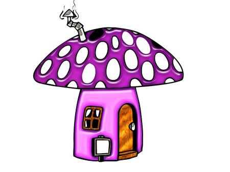 Schattig huisje mushroom  Stock Illustratie