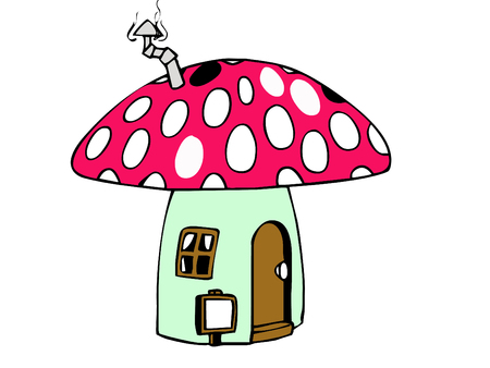 cute little mushroom house  Stock Vector - 5382110