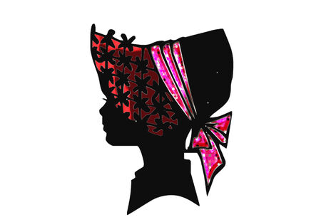 bonnet: silhouette of a female head wearing a pretty hat