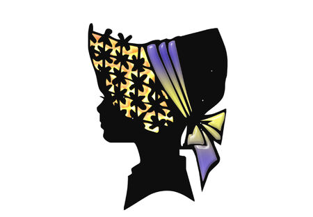 silhouette of a female head wearing a pretty hat