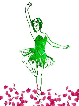 バラの花びらの上で踊ってかなりバレリーナ  イラスト・ベクター素材