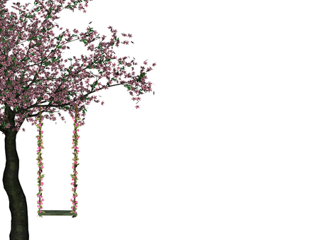 swing hanging from a flowering tree  Illustration