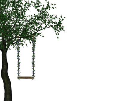 Swing hängen an einem Baum ziemlich grün  Vektorgrafik