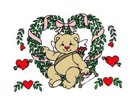 a cute little teddy bear in a heart wreath with flowers  Ilustração