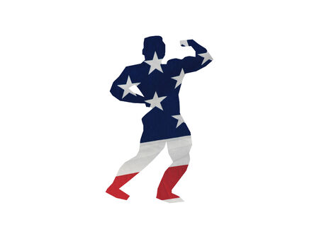 silhouette of a male body builder done in the flag