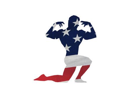 Silueta de un generador de cuerpo masculino hecho en la bandera  Foto de archivo - 5389509