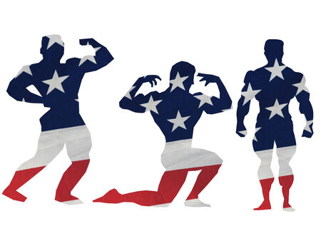 silhouettes of three body builders done in the flag