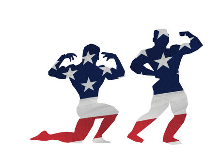 silhouettes of two body builders done in the flag  Çizim