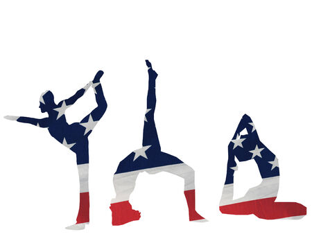 silhouette of gymnasts done in the flag