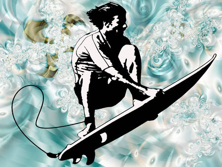 surfer done on cool looking blue background  Illustration