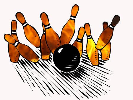vurige bowlingkegels met zwarte bal