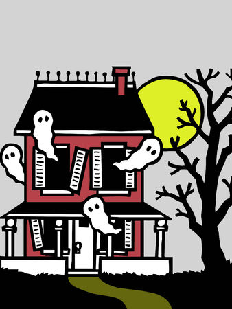 cute little haunted house for halloween  Çizim