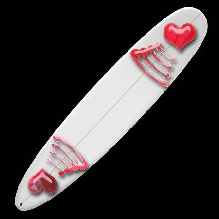 a surf board with pretty hearts on it  Иллюстрация