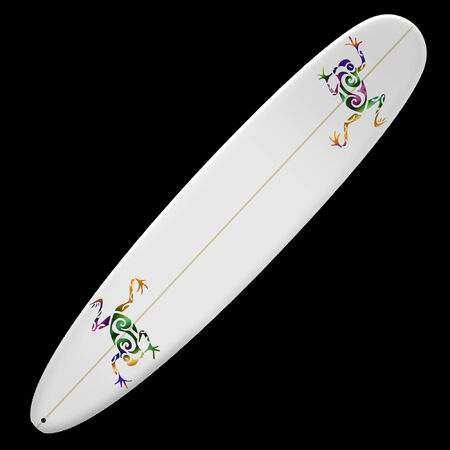 surf board with bright colorful tribal design  Ilustracja
