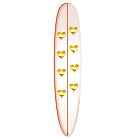 surf board: una tabla de surf con el coraz�n bastante en �l