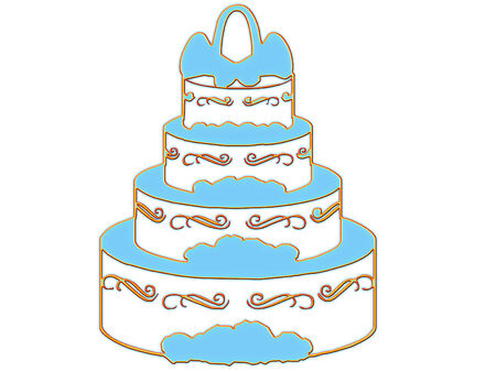 tiers: elegant wedding cake ready for the party  Illustration