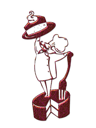 chef standing on a cake holding up a slice Vector