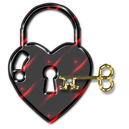 a pretty heart padlock and golden key