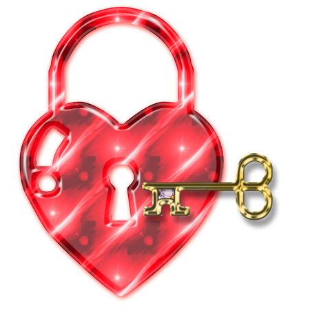 a pretty heart padlock and golden key  Vector