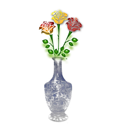 a vase with pretty colorful roses in it Illustration