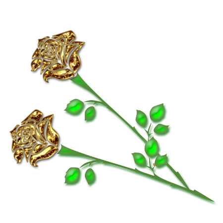 two very pretty and colorful long stem roses Illustration