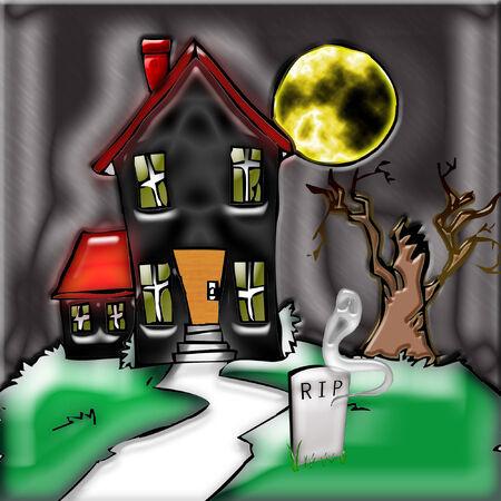 een griezelige spookhuis voor de halloween seizoen