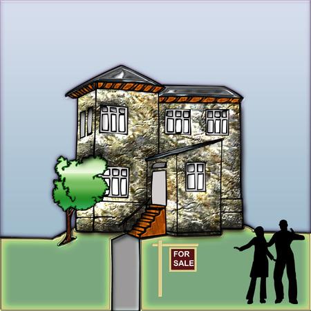 een mooie grote huis klaar om iemand te kopen  Stock Illustratie