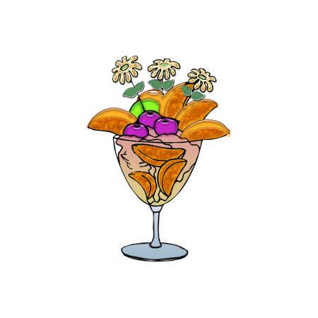 熱帯果物やクリームで砂漠を見る