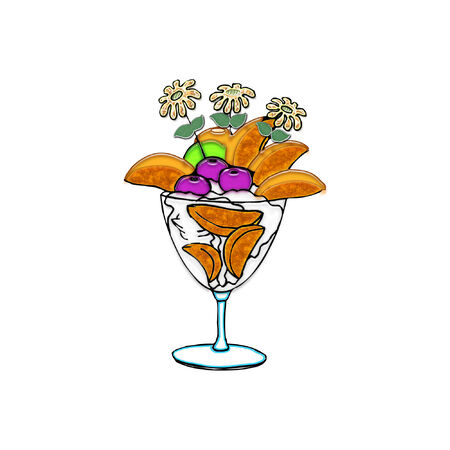 a tropical looking desert with fruit and cream  Ilustração