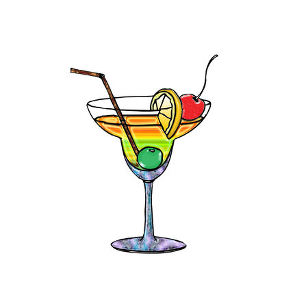 a colorful martini drink with fresh fruit