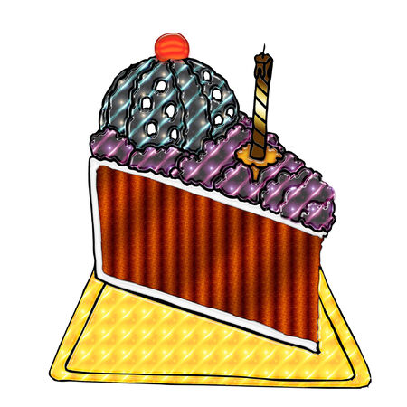 festive occasions: a slice of birthday cake with colorful icing