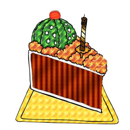カラフルなアイシングで誕生日ケーキのスライス
