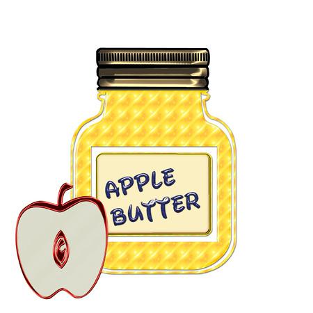 een kleurrijke pot met zelfgemaakte appelboter Stock Illustratie