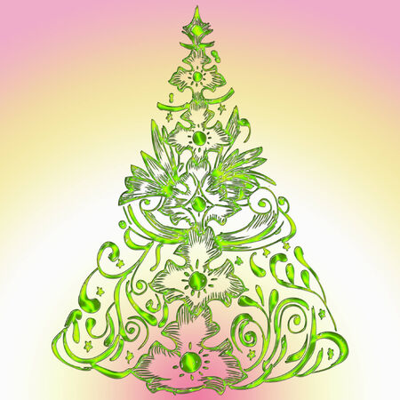 a christmas tree done in bright colors  Illustration