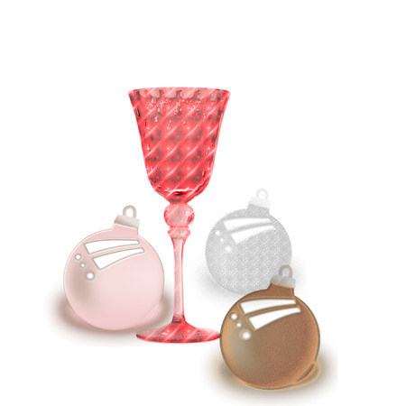 a colorful drink glass and pretty christmas ornaments  向量圖像
