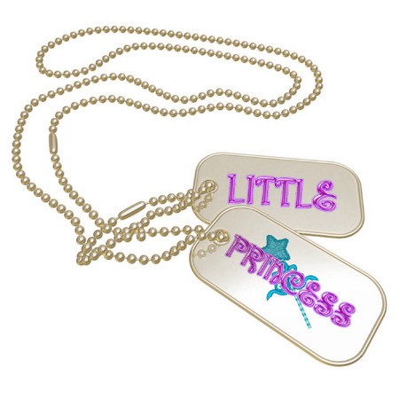 a set of dog tags saying little princess