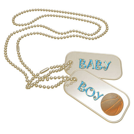 a set of dog tags saying baby boy