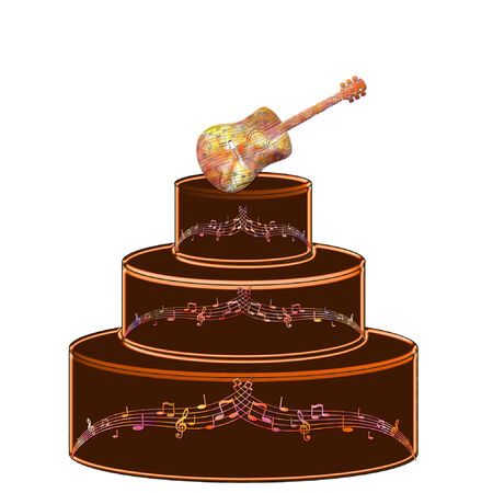 a pretty cake with a guitar on it Illustration