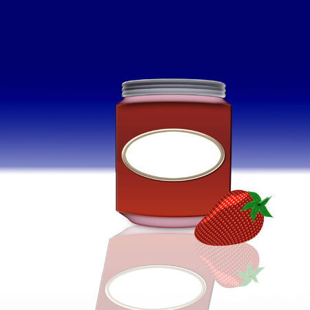 a large glass jar of strawberry jelly