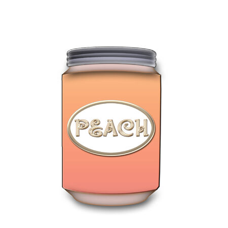 a large glass jar of peach jelly