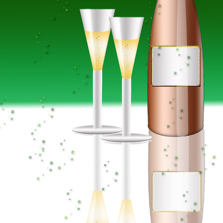 twee drinken mooie glazen van champagne en een fles