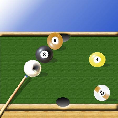 a pool table with the eight ball blocking the shot  Illusztráció
