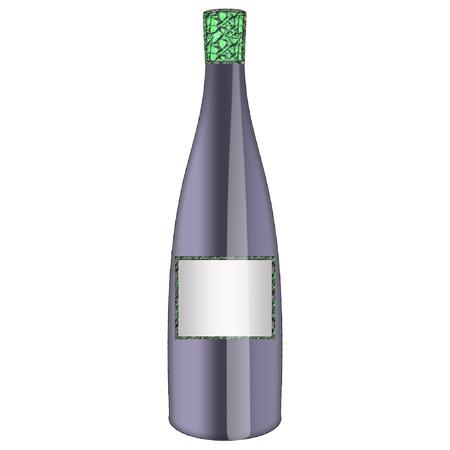 een fles wijn gedaan in mooie kleuren  Stock Illustratie
