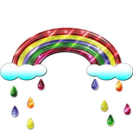 a bright colorful rainbow with pretty rain drops falling  Ilustração