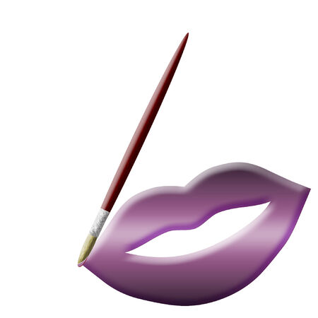 a colorful set of lips and a paintbrush