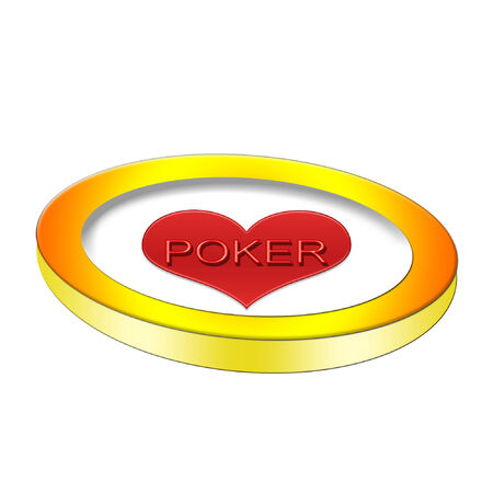 poker chip with a bright red heart on it Stock Vector - 6179816