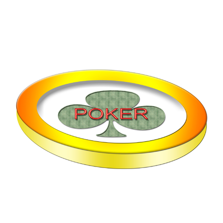 A large poker chip with a bright green club on it