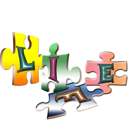 several puzzle pieces spelling out life