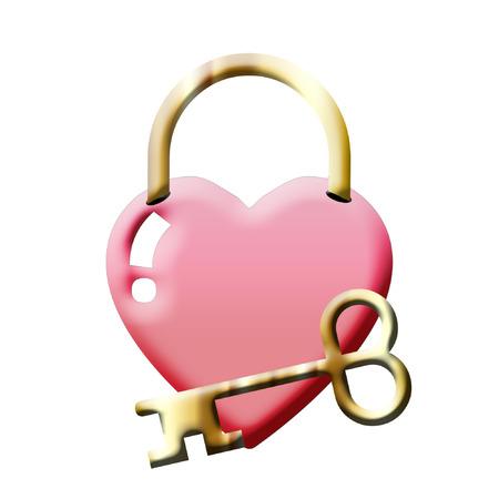 예쁜 심장 자물쇠와 황금 열쇠 일러스트